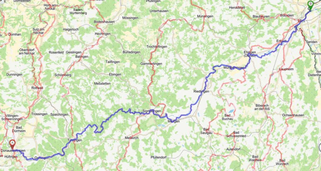 """Übersicht des Donau Radweges von Donaueschingen bis Ulm und Teil der """"712 - die Tour"""""""